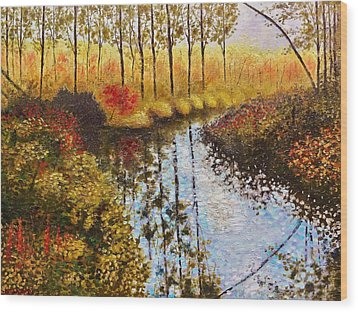 Wood Print featuring the painting Cranberry Bog by Jason Williamson