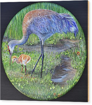 Wood Print featuring the painting Crane Circle by AnnaJo Vahle