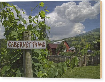 Crane Creek Vineyard Wood Print by Debra and Dave Vanderlaan