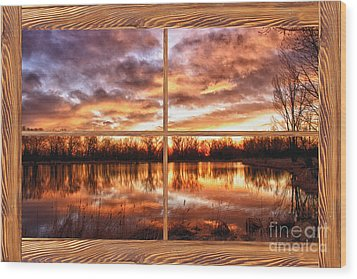 Crane Hollow Sunrise Barn Wood Picture Window Frame View Wood Print by James BO  Insogna