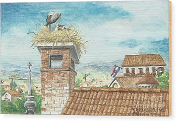 Cranes In Croatia Wood Print by Christina Verdgeline