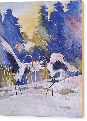 Cranes In Winter Inspired By Quan Zhen Wood Print