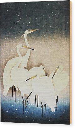 Cranes  Wood Print by Shanina Conway