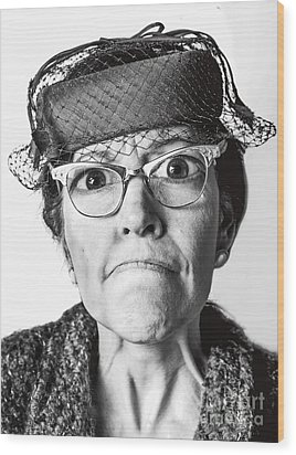Cranky Old Lady Wood Print by Diane Diederich