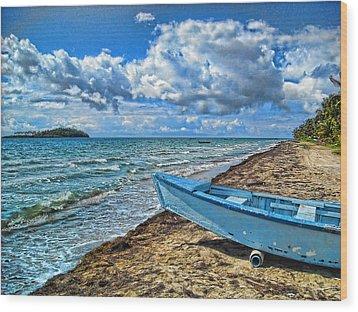Crash Boat Wood Print by Daniel Sheldon