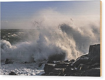 Crashing Surf Wood Print by Marty Saccone