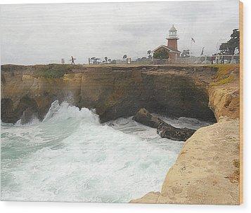 Crashing Surf Near The Lighthouse Wood Print by Ron Regalado
