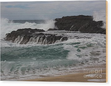 Crashing Surf Wood Print by Suzanne Luft