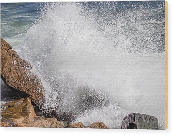 Wood Print featuring the photograph Crashing Wave Acadia  by Trace Kittrell