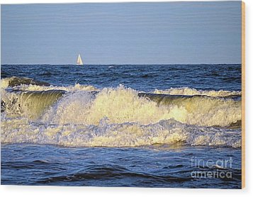 Crashing Waves And White Sails Wood Print