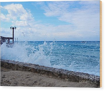 Wood Print featuring the photograph Crashing Waves In Cozumel by Debra Martz