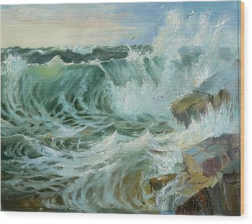 Wood Print featuring the painting Crashing Waves by Lori Ippolito