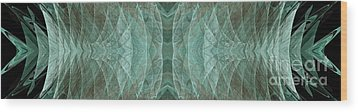 Crashing Waves Of Green 1 - Panorama - Abstract - Fractal Art Wood Print by Andee Design