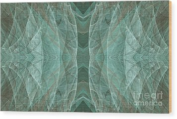 Crashing Waves Of Green 3 - Abstract - Fractal Art Wood Print by Andee Design