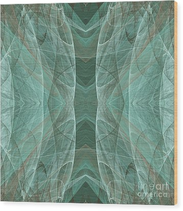 Crashing Waves Of Green 4 - Square - Abstract - Fractal Art Wood Print by Andee Design