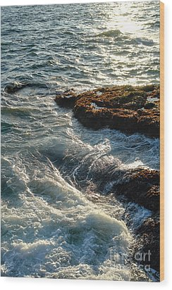 Crashing Waves Wood Print by Olivier Le Queinec