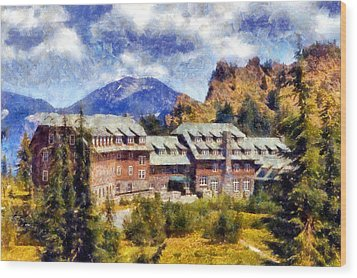 Crater Lake Lodge Wood Print by Kaylee Mason