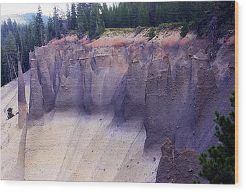 Crater Lake Pinnacles Wood Print by Michael Courtney