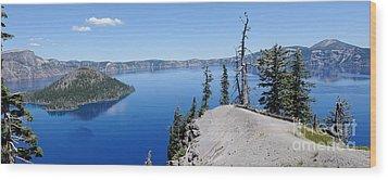 Crater Lake Scenic Panorama Wood Print by John Kelly