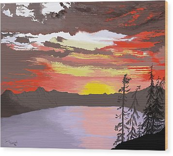 Crater Lake Wood Print by Terry Frederick