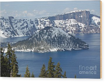 Wood Print featuring the photograph Crater Lake With Snow by Debra Thompson