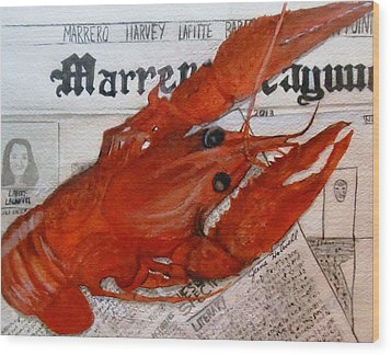 Crawdaddy Wood Print by June Holwell