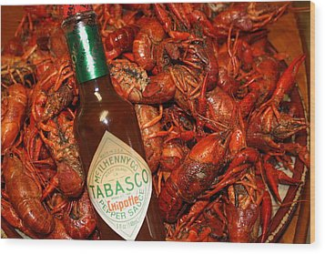 Crawfish And Tabasco Wood Print
