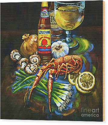 Crawfish Fixin's Wood Print by Dianne Parks