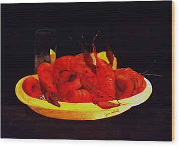 Crawfish Small Portion Wood Print by June Holwell