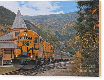 Crawford Notch Train Depot Wood Print by Adam Jewell