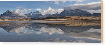 Crawford Reservoir And The West Elk Mountains Wood Print