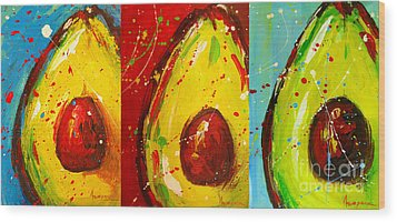 Crazy Avocados Triptych  Wood Print