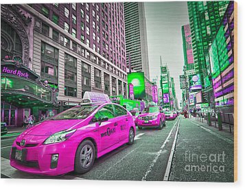 Crazy Cabs In Manhattan Wood Print by Delphimages Photo Creations