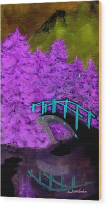 Crazy Exposure Bridge Over Frozen Water Wood Print