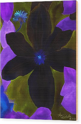 Crazy Exposure Clematis Wood Print
