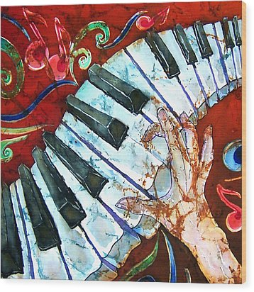 Crazy Fingers Piano Square Wood Print by Sue Duda
