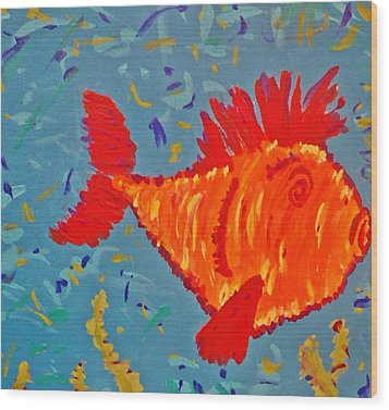 Wood Print featuring the painting Crazy Fish by Yshua The Painter