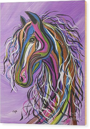Wood Print featuring the painting Crazy Horse by Janice Rae Pariza