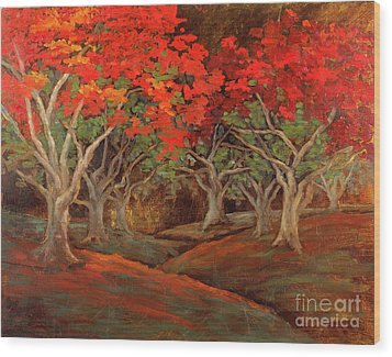 Wood Print featuring the painting Crazy Orange Trees by Vic  Mastis