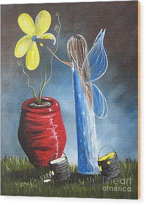 Creating Tomorrow Fairy By Shawna Erback Wood Print by Shawna Erback