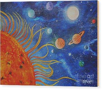 Creation Fourth Day Moon Sun Stars Planets Wood Print by Caroline Street