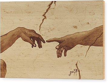 Creation Of Adam Hands A Study Coffee Painting Wood Print by Georgeta  Blanaru