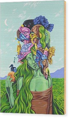 Creation Of Eve Wood Print by Charles Luna