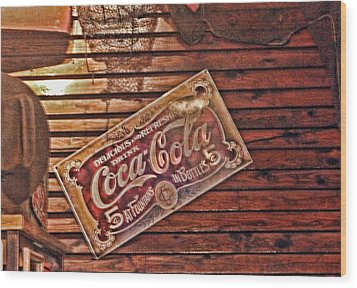 Creative Vintage Coca Cola Sign Wood Print by Linda Phelps
