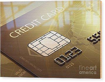 Credit Card Macro - 3d Graphic Wood Print by Johan Swanepoel