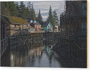 Wood Print featuring the photograph Creek St. Ketchikan Alaska by Timothy Latta