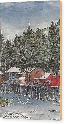 Wood Print featuring the mixed media Creek Street In Ketchikan by Tim Oliver