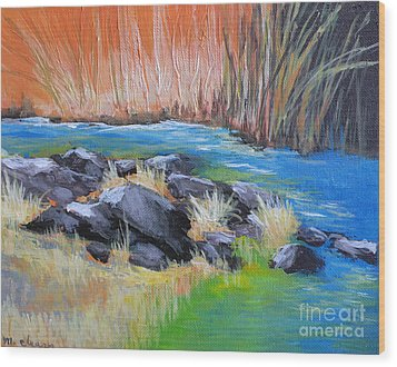 Creekside Wood Print by Melody Cleary