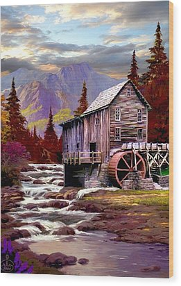 Creekside Mill Wood Print by Ron Chambers