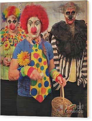 Creepy Clowns Wood Print by Lilliana Mendez